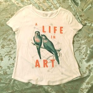 Rare Old Navy Art Tee w/ Birds & Geometric Design